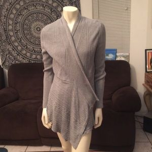White House Black Market Gray Sweater Cardigan L